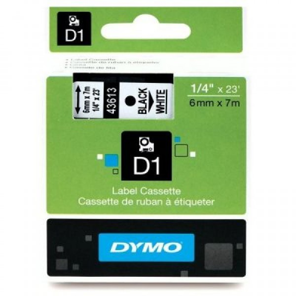 DYMO D1 Yedek Şerit, 6 mm x 7 mt, Şeffaf/ Siyah (43610)